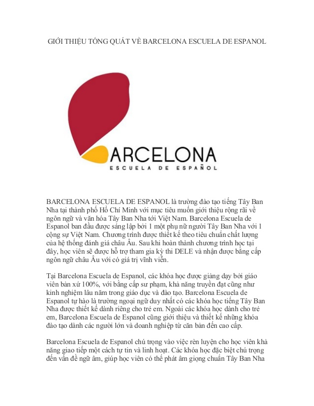 Trường dạy tiếng Tây Ban Nha Barcelona